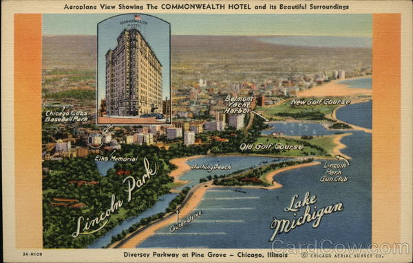 Aeroplane view showing The Commonwealth Hotel and its beautiful surroundings Chicago Illinois