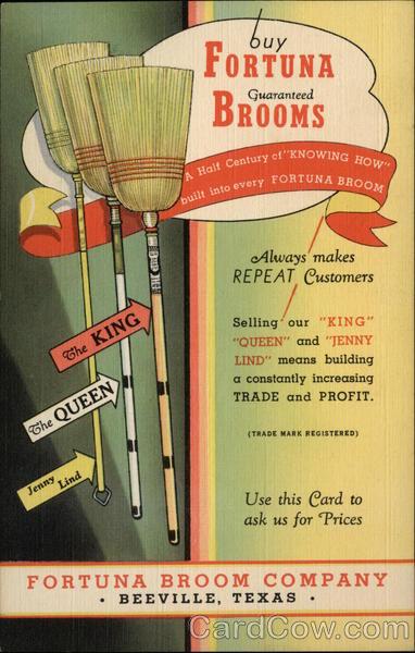 Rare Ad: Fortuna Broom Company Vintage Post Card