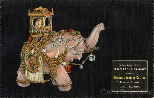Jewelled Elephant; Richter's Jewelry Co - Rare Ad! Miami Florida