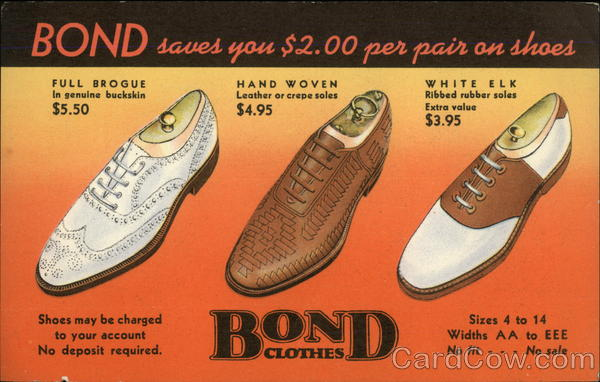 Bond Clothes, Bond Saves you $2.00 Per Pair on Shoes
