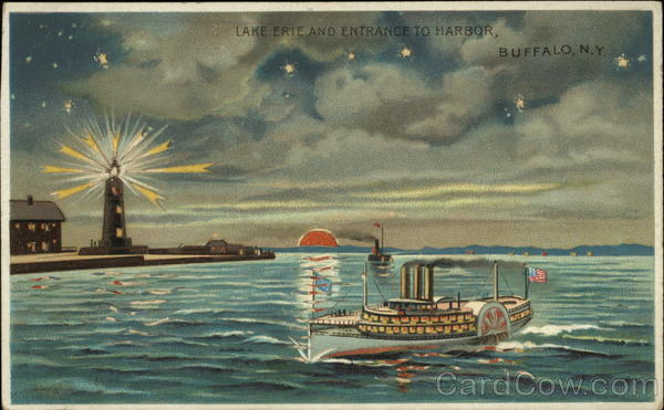 Lake Erie and Entrance to Harbor Buffalo New York Hold To Light