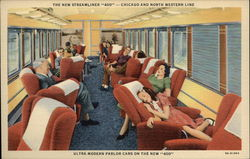 "The New Streamliner ""400"" - Chicago and North Western Line, Ultra Modern Parlor Cars on the New 400 Postcard"