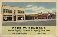 Fred W. Rembold, Authorized Dodge - Plymouth - Dodge Truck Dealer Postcard