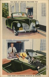 First Bank Automobile Window in Illinois - 1941 Lincoln Convertible Postcard