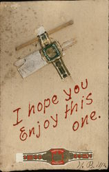 Novelty Postcard with match & real cigarette, Cigar Bands