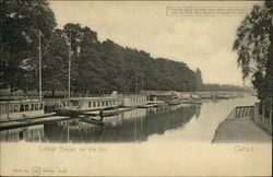 College Barges on the Isis - Color Change HTL Postcard