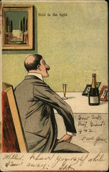 Man Sitting at table, Wine bottle