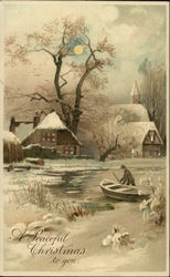 Man with rowboat in front of snowy houses