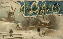 Snowy Scene, Windmill in background, 1910