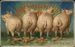 Rear of pigs, tails with date 1910