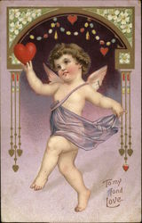 Cupid holding heart