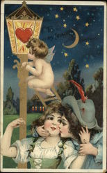Cherub on Ladder Looking at Heart on Light Pole as Two Children Kiss