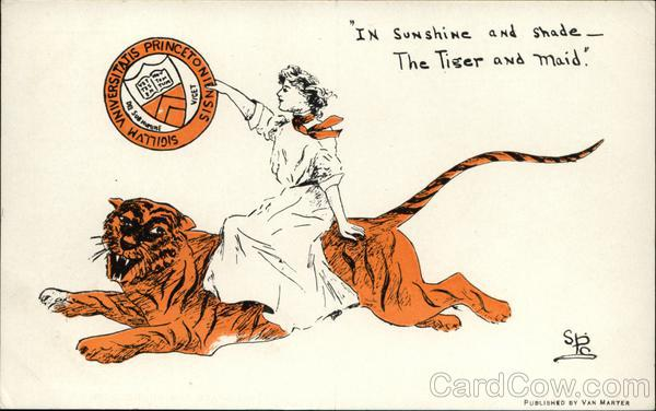 Princeton University College Girl, Tiger Mascot and School Seal