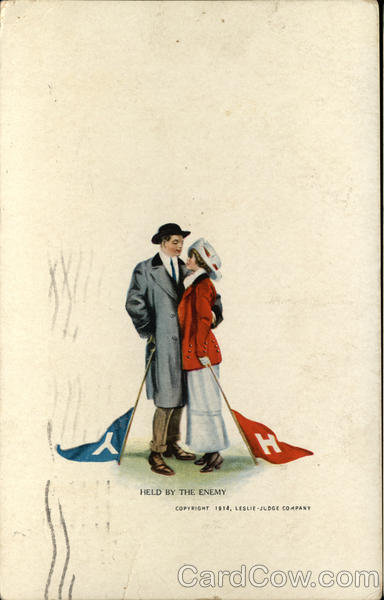 Star-Crossed Lovers from Yale and Harvard Vintage Postcard