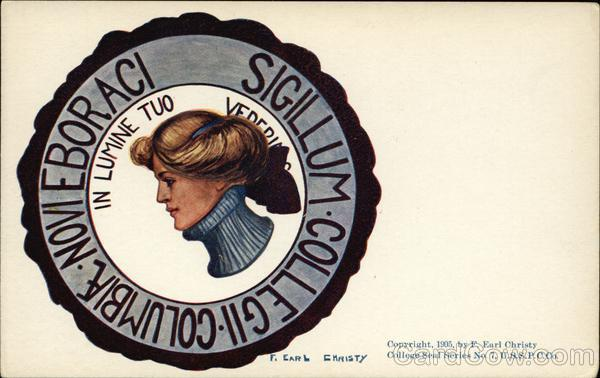 Columbia University College Girl and School Seal F. Earl Christy