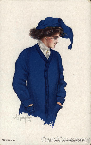 College Girl in Blue Sweater and Cap Pearle Eugenia Fidler
