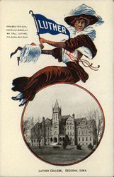 Luther College Girl and School Campus, Decorah, Iowa Postcard