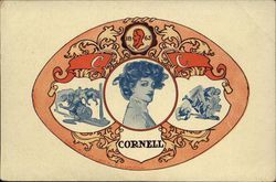 Cornell University Emblem with College Girl in Center