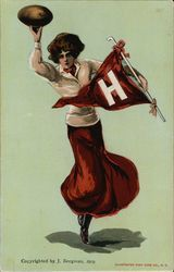 Harvard University Girl with Flag and Football