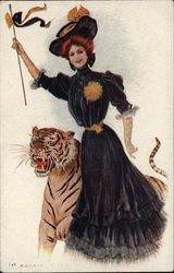 Princeton University College Girl and Tiger Mascot