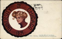 University of Chicago College Girl and School Emblem