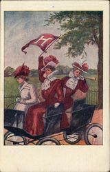Three Harvard University Girls in a Carriage