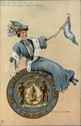 University of Maine Girl with Flag and Seal