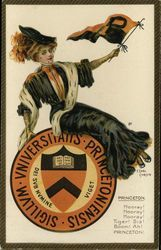 Princeton University Seal with College Girl