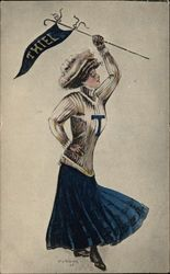 Thiel College Girl Postcard