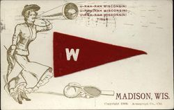 University of Wisconsin Girl with Flag and Sports Equipment