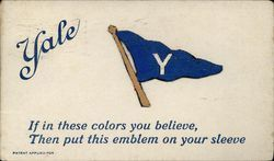 Yale University Embroidered Pennant in Blue and White