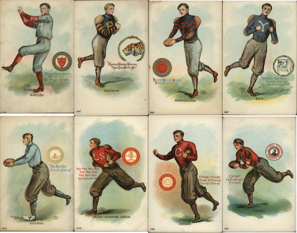 Complete Set of 8: College Men/Boys Football, Baseball Players
