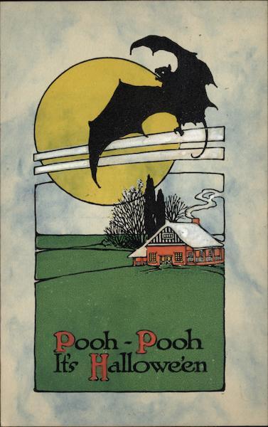 Rare Bat Flying Under Full Moon Halloween
