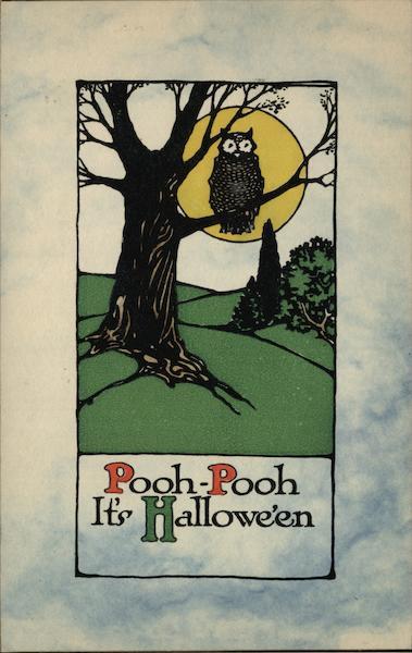 Owl in Tree Under Full Moon Halloween