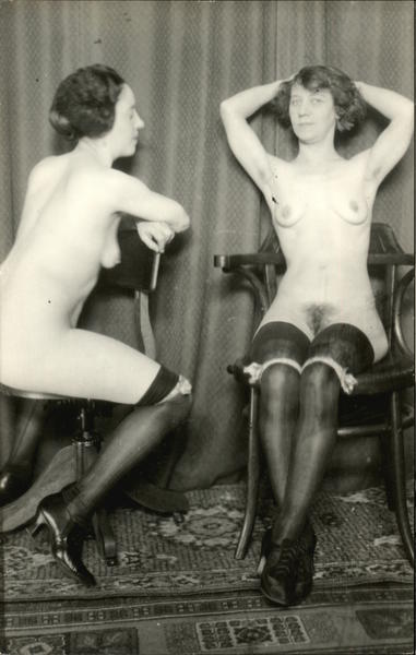 1920 Two Prostitutes, Nude, Stockings and Heels Risque & Nude