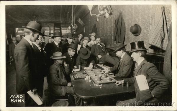 Orient Saloon Group Playing a Game of Faro Bank Frontier Casino Bisbee Arizona