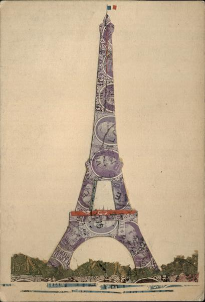 Eiffel Tower Made of Cut Up French, Belgian Stamps