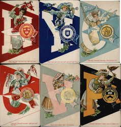 Complete Set of 6: Ivy League College Girls Postcard