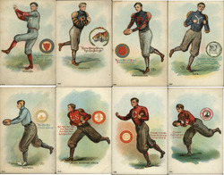 Complete Set of 8: College Men/Boys Football, Baseball Players Postcard