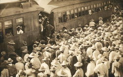Pancho Villa Reception at Train Depot 1914 Mexican Revolution