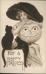 Woman in Black Hat Holds JOL, Black Cats