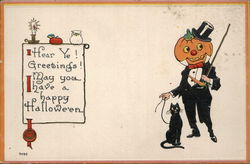 Jack o lantern wearing tuxedo hold his cat on a leash.
