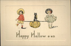 Two Children Carrying Jack O'Lantern and Black Cat