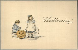 Two Children Playing With Jack O'Lantern