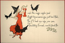 Witch Dressed in Red With Flying Bats