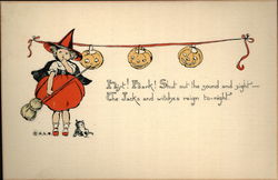 Young Witch in Red and Strung Jack O'Lanterns