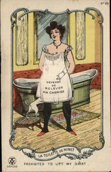 "French ""Prohibited to Lift My Shirt"" Woman Pussy Cat Postcard"