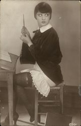Woman Sewing, Stockings, Garter Postcard