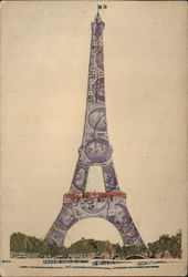 Eiffel Tower Made of Cut Up French, Belgian Stamps Other Ephemera