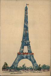 Eiffel Tower Made of Cut Up French Stamps Other Ephemera